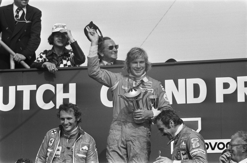 1975 Dutch Grand Prix podium with James Hunt in 1st place