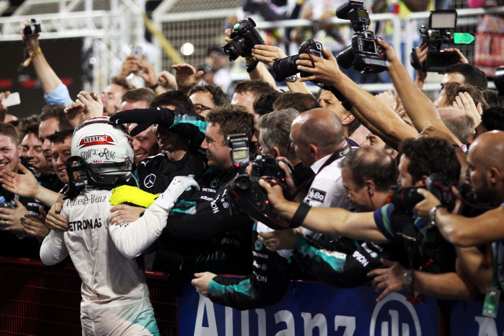 Race winner Lewis Hamilton (GBR) Mercedes AMG F1 celebrates in parc ferme. Bahrain Grand Prix, Sunday 19th April 2015. Sakhir, Bahrain.
