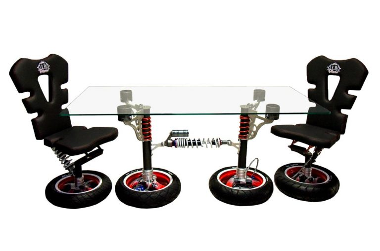 Double table 130x80x8mm tempered glass | Hercules Racing Furniture