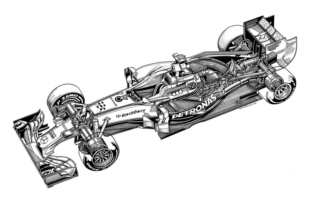 Technical drawings of Mercedes 2014-2016 cars by Paolo D\'Alessio