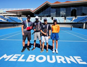 Force India drivers take to the tennis court in Melbourne