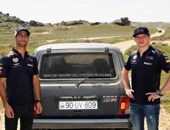 Daniel and Max switch their F1 cars for off-road Lada 4x4s
