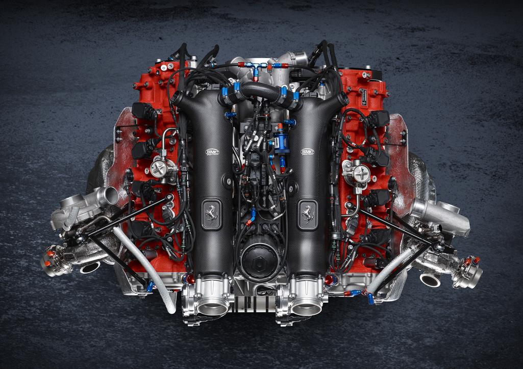 The Ferrari 488 GT Modificata engine.
