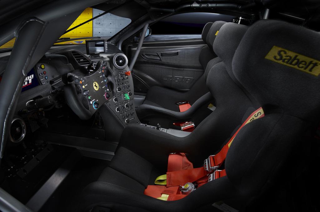 The Ferrari 488 GT Modificata interior.