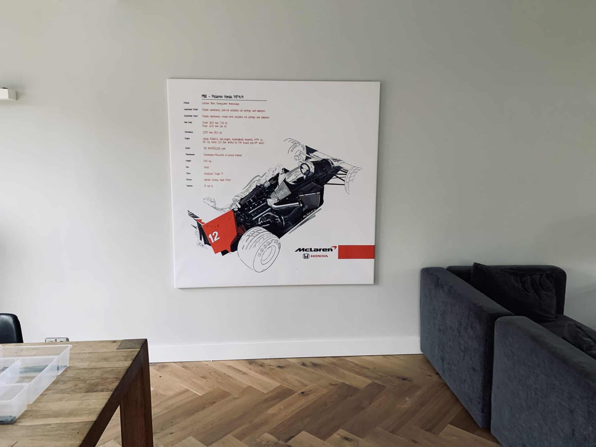 Mclaren Honda F1 MP4/4 Hand Drawn and Printed on Canvas