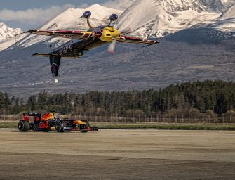 The world-first stunt: Red Bull Racing v Red Bull plane